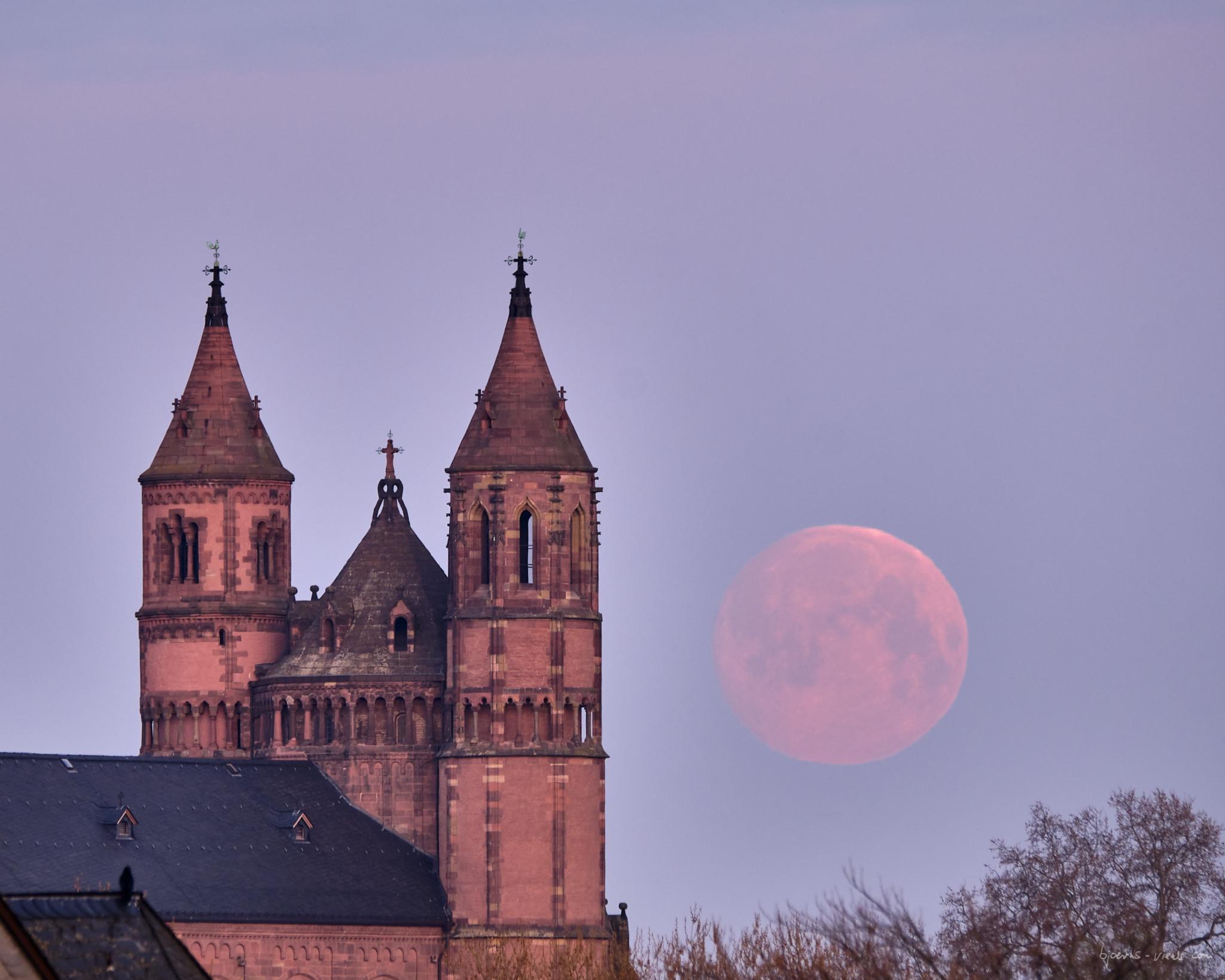 Monduntergang, Rheinbrücke, Rhein, Dom, Mond, Moon, Moonset, Bridge, Brücke, Rhein, Pfalz, Rheinhessen